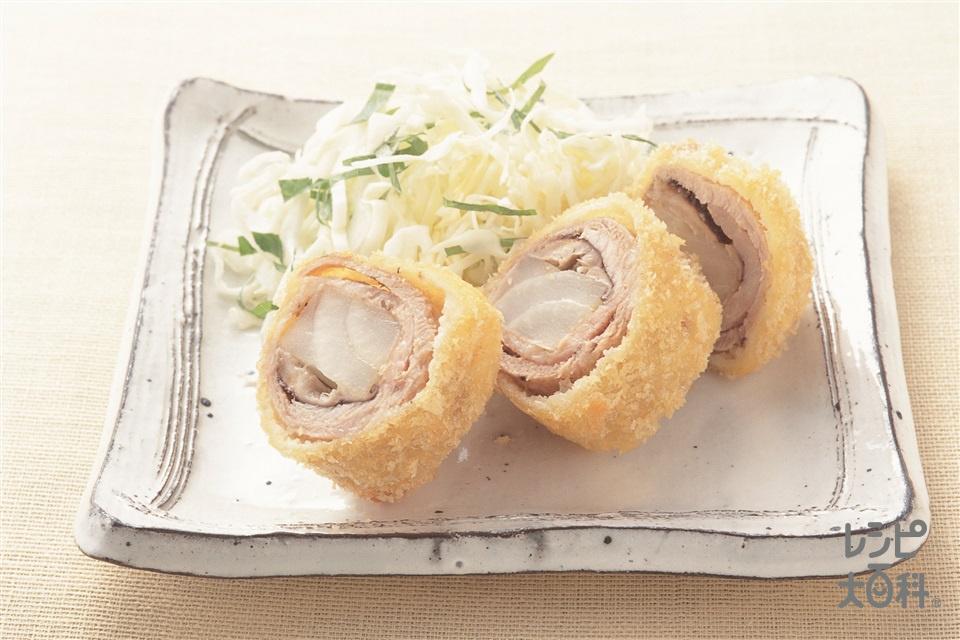豚肉のロールかつ(玉ねぎ+豚肩ロース薄切り肉を使ったレシピ)