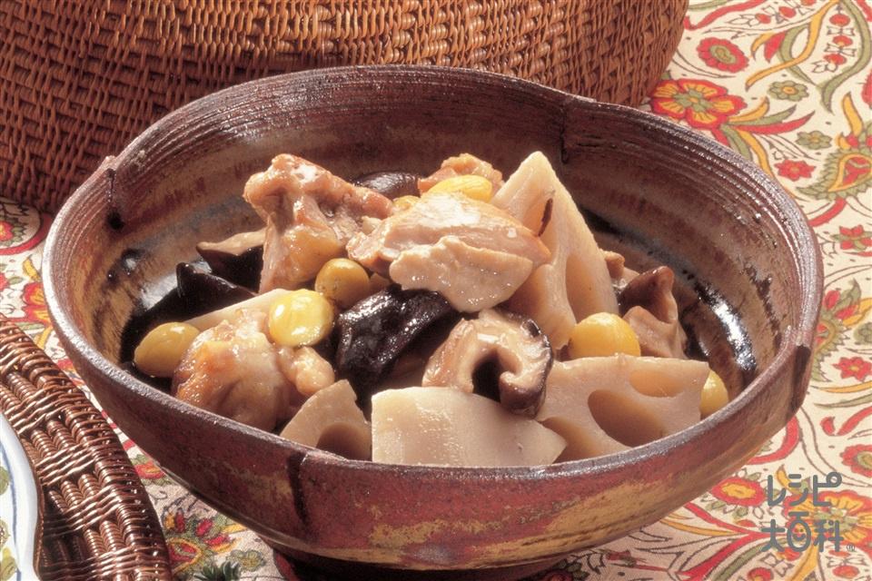 鶏肉とれんこんとしいたけの煮もの(鶏もも肉+れんこんを使ったレシピ)