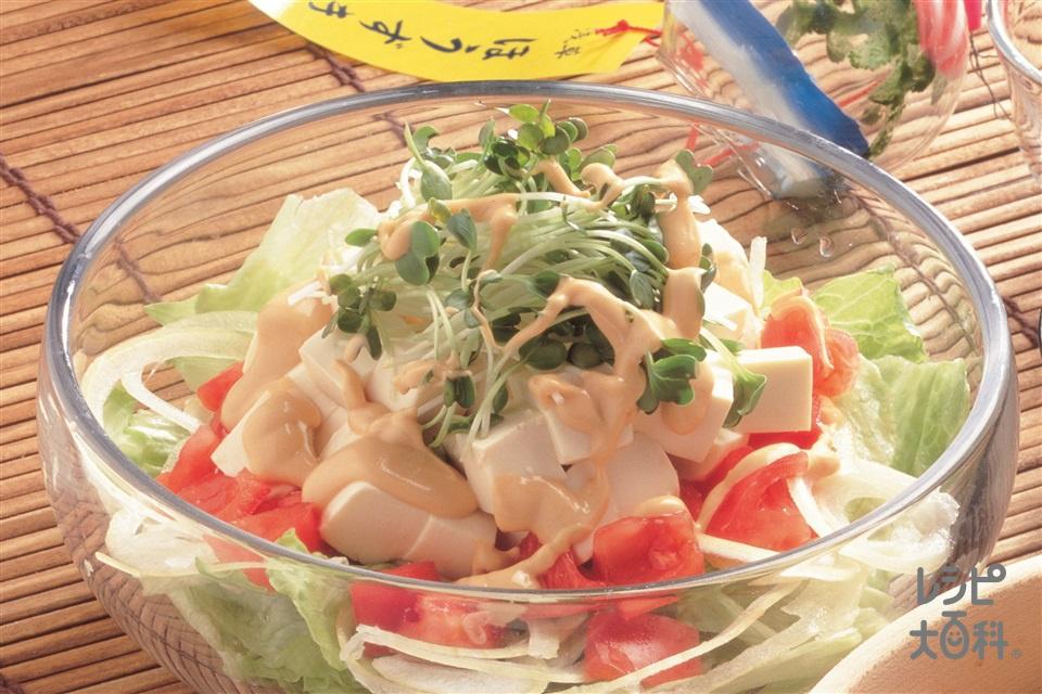 豆腐のヘルシーサラダ(絹ごし豆腐+レタスを使ったレシピ)