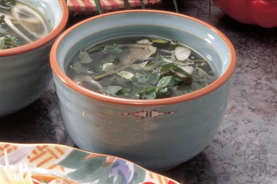 クレソンのスープ(クレソン+ねぎを使ったレシピ)