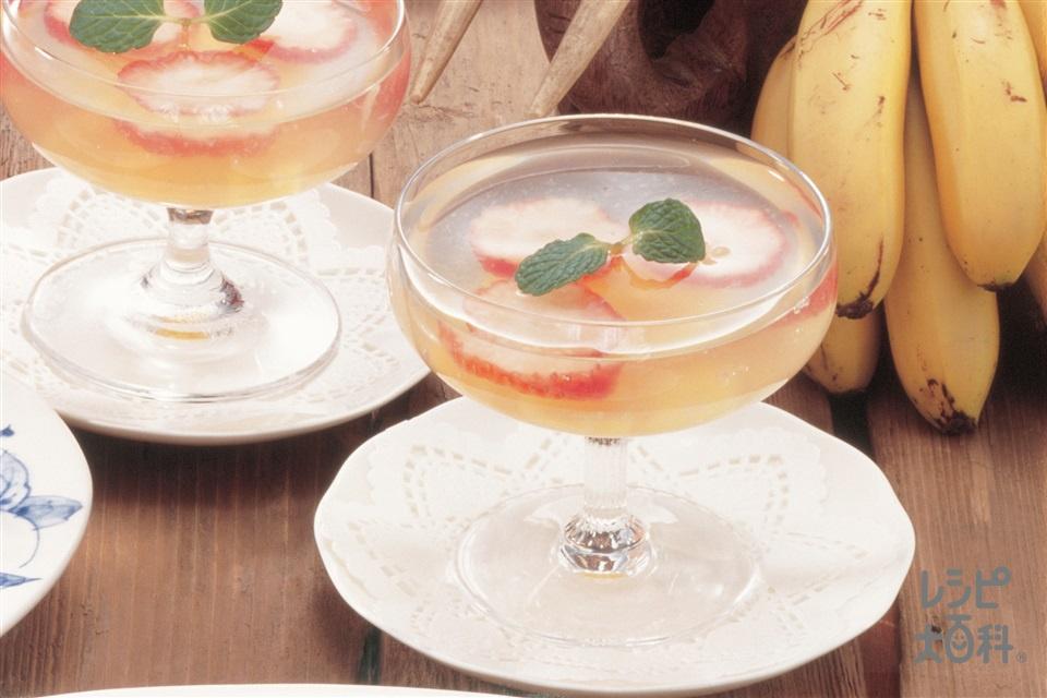 フルーツゼリー(パパイア+いちごを使ったレシピ)