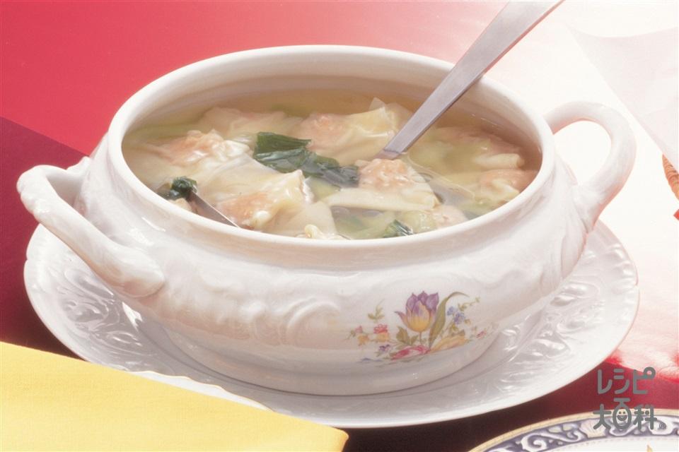 ワンタンスープ(ワンタンの皮+豚ひき肉を使ったレシピ)