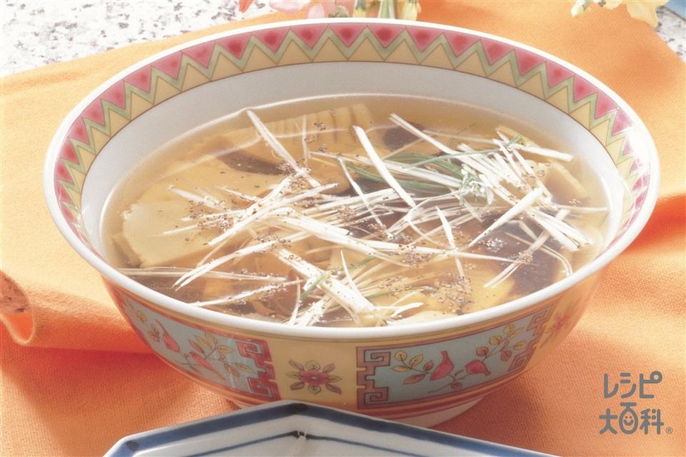 たけのこと鶏ささ身のスープ(ゆでたけのこ+鶏ささ身(成鶏)を使ったレシピ)