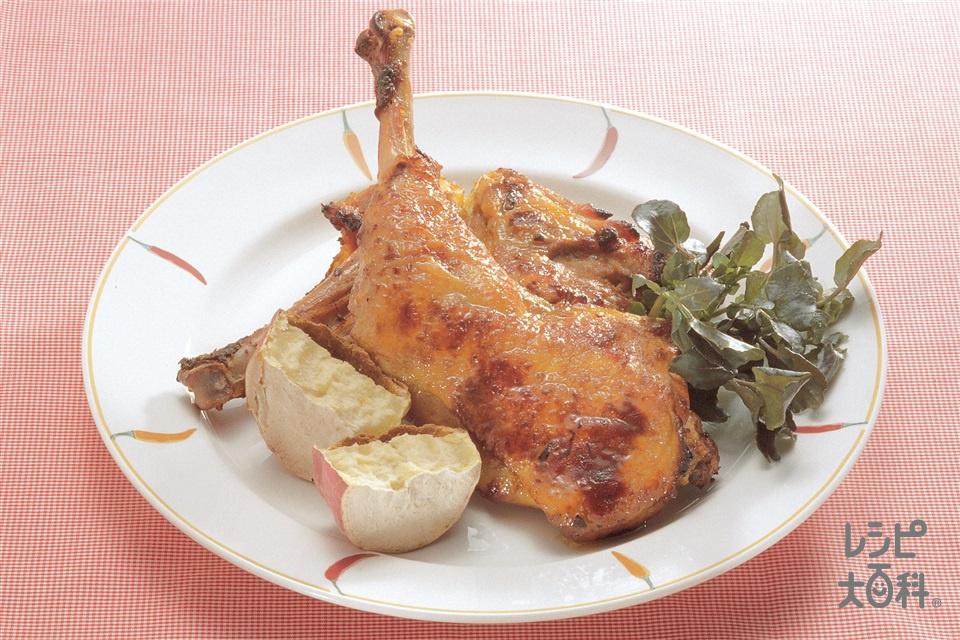 骨付きタンドリーチキン(鶏骨つきもも肉+さつまいもを使ったレシピ)