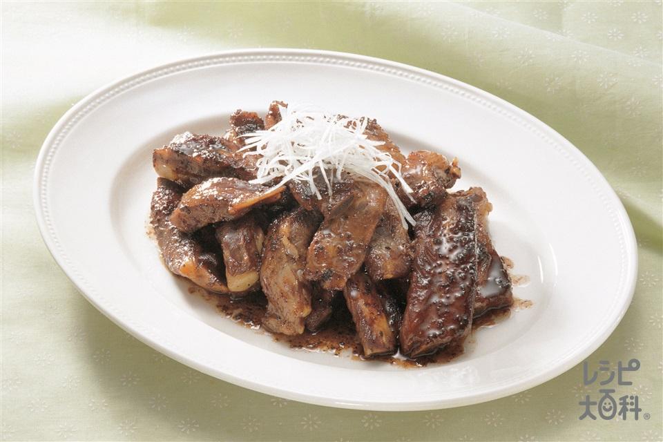 スペアリブの豆チ炒め煮(スペアリブ+白髪ねぎを使ったレシピ)