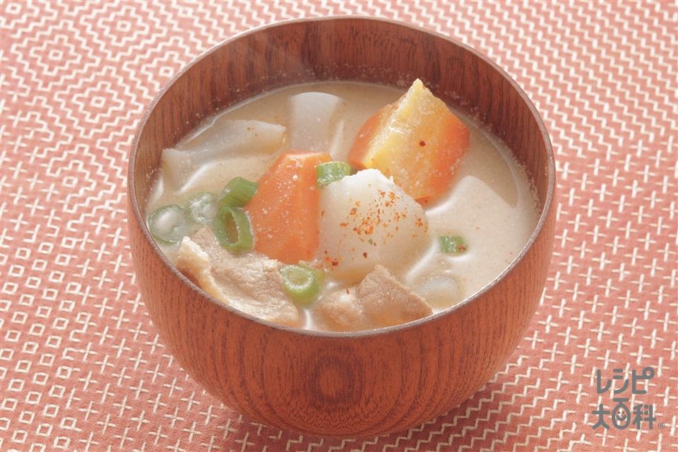ごま汁(豚もも薄切り肉+冷凍里いもを使ったレシピ)