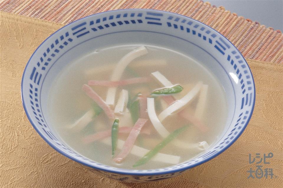 豆腐のスープ(絹ごし豆腐+ロースハムを使ったレシピ)