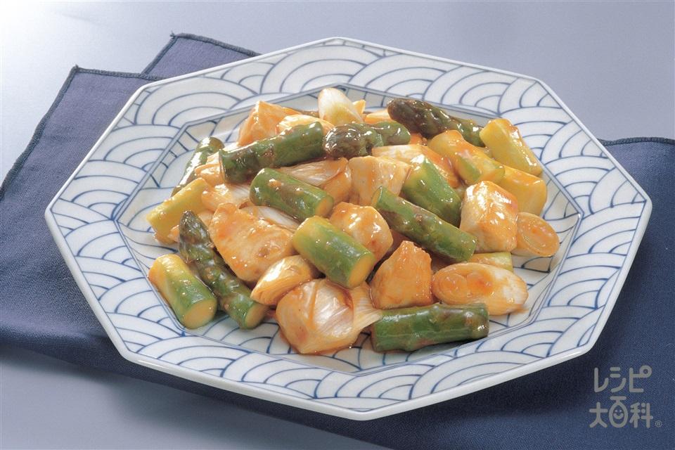 かじきとアスパラのえびチリ炒め(かじき+グリーンアスパラガスを使ったレシピ)