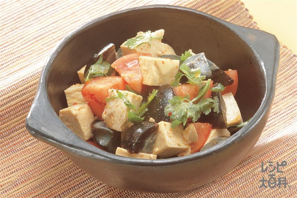 豆腐とピータン、トマトのサラダ(木綿豆腐+トマトを使ったレシピ)