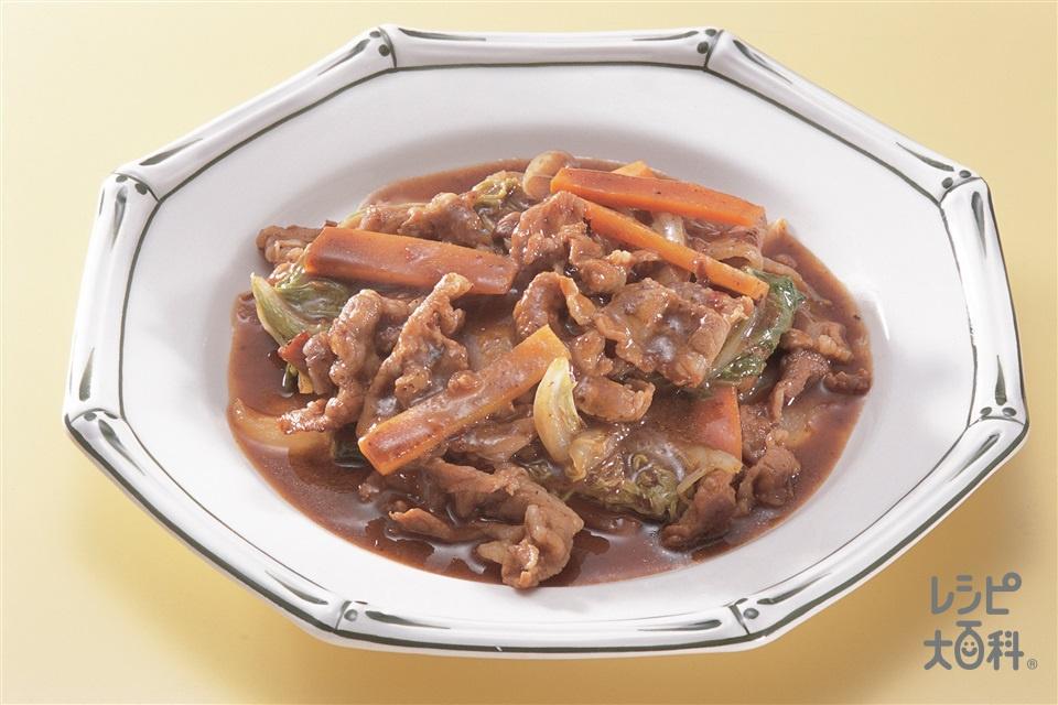 白菜と豚ばらの蒸し煮(白菜+豚バラ薄切り肉を使ったレシピ)