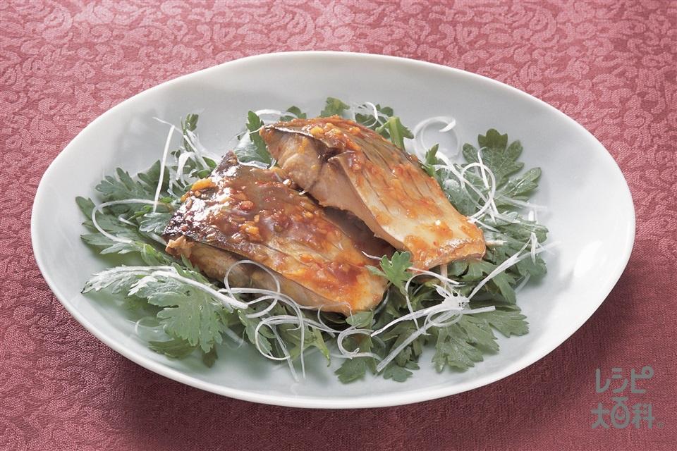 さばの中国風煮(さば三枚おろし+春菊を使ったレシピ)
