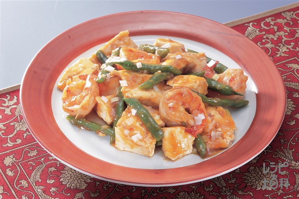 豆腐とえびの中国風炒め(木綿豆腐+えびを使ったレシピ)