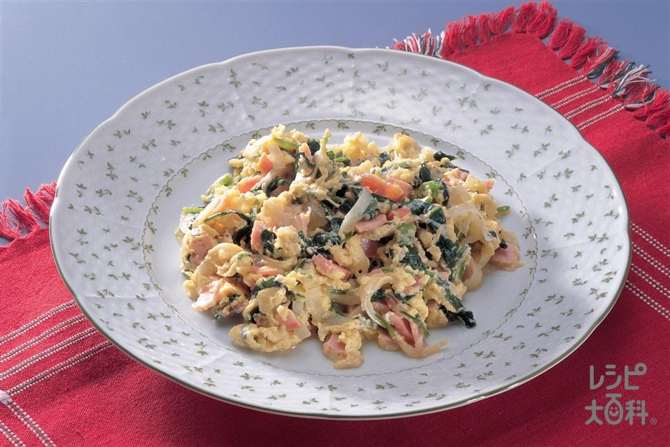 野菜入り卵炒め(卵+ロースハムを使ったレシピ)