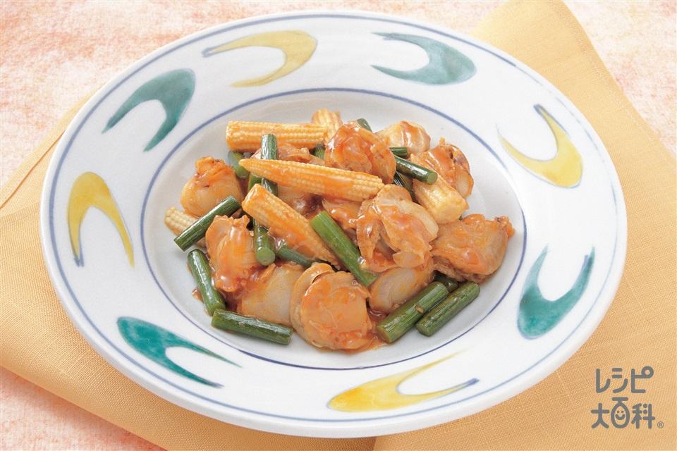 帆立の干蝦風(ボイル帆立貝柱+茎にんにくを使ったレシピ)