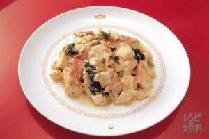 豆腐と高菜の卵とじ炒め