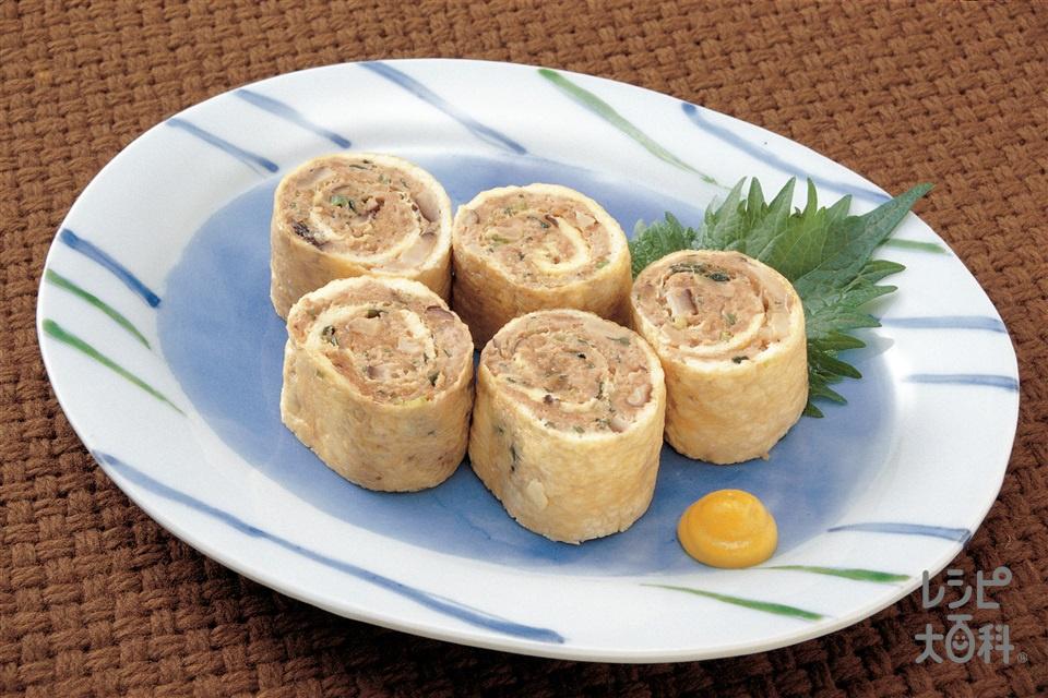 揚げ巻きレンジ蒸し(油揚げ+豚ひき肉を使ったレシピ)