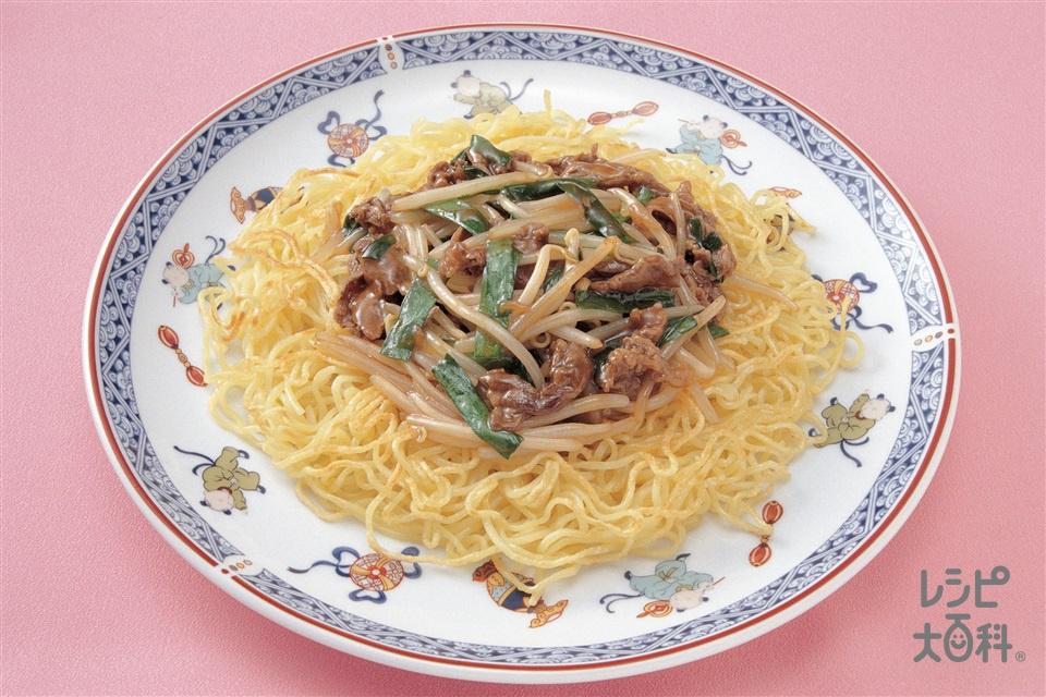 あんかけ焼きそば(中華蒸しめん+牛こま切れ肉を使ったレシピ)