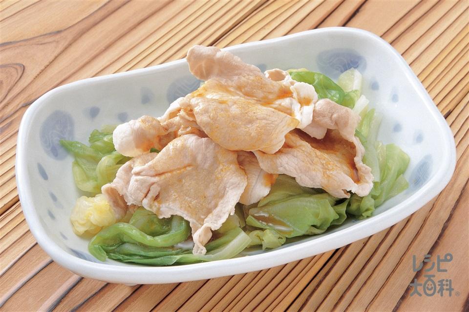 キャベツと豚しゃぶ肉のカレーたれ(キャベツ+豚肩ロースしゃぶしゃぶ用肉を使ったレシピ)