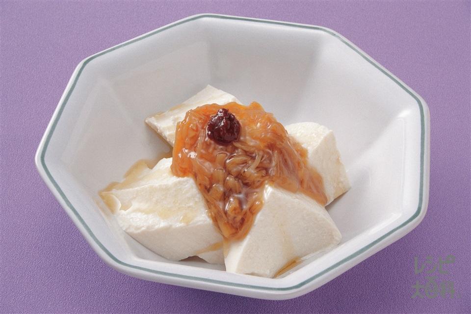 なめたけやっこの中国風(絹ごし豆腐+なめたけを使ったレシピ)