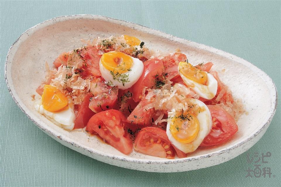 トマトのおかかサラダ(トマト+温泉卵を使ったレシピ)