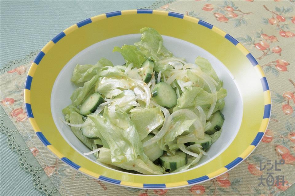 シンプルサラダ(レタス+きゅうりを使ったレシピ)