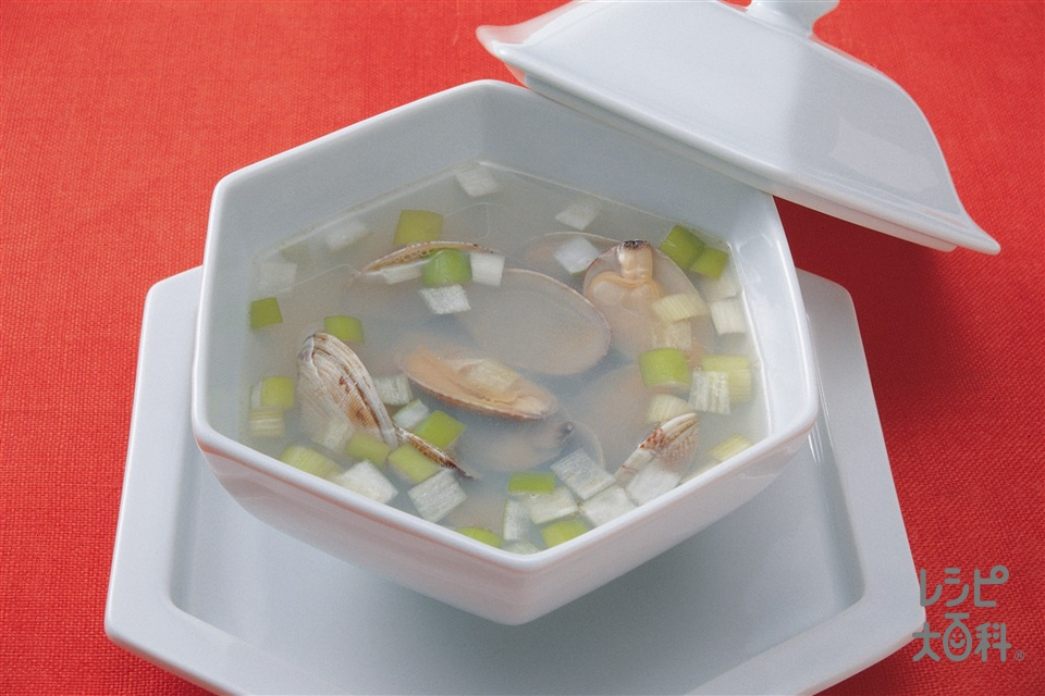 あさりとねぎの中国風スープ(あさり+ねぎを使ったレシピ)