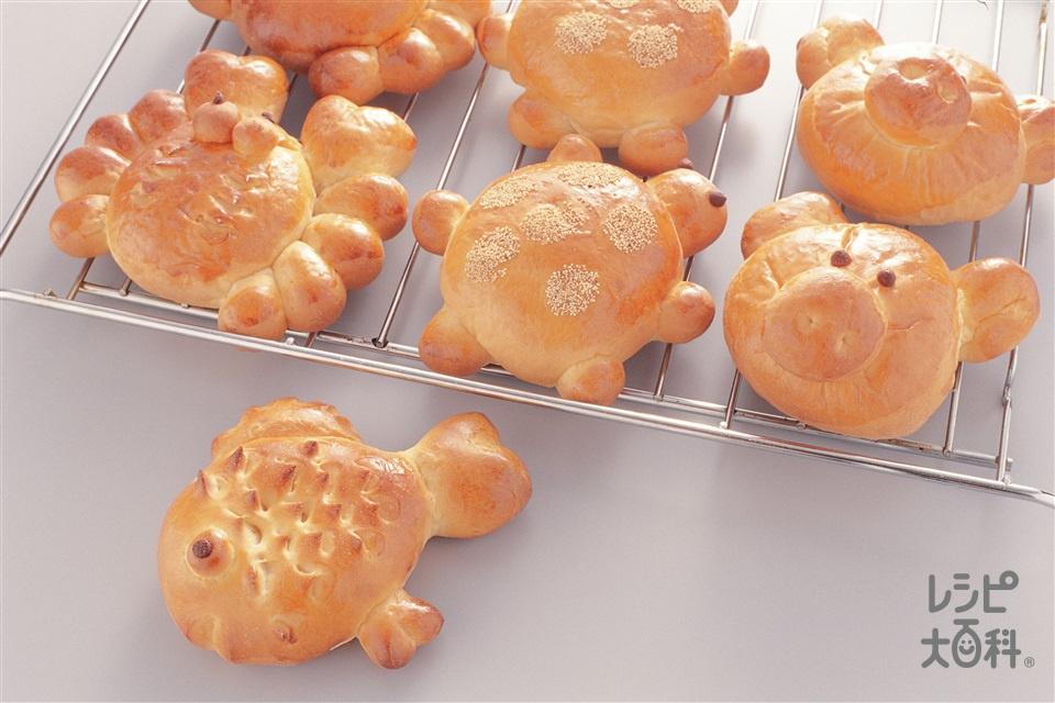 動物パン(ブタ)(強力粉+薄力粉を使ったレシピ)