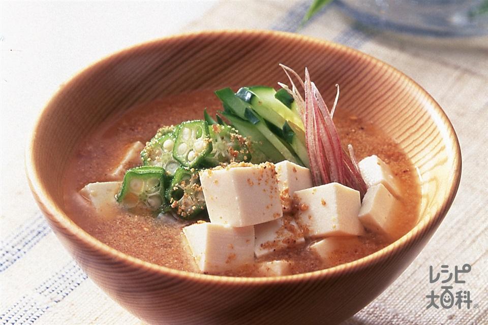 オクラとみょうがの冷や汁(絹ごし豆腐+オクラを使ったレシピ)