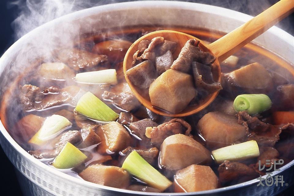 いも煮 山形風味わいしょうゆ味(里いも+牛バラ薄切り肉を使ったレシピ)