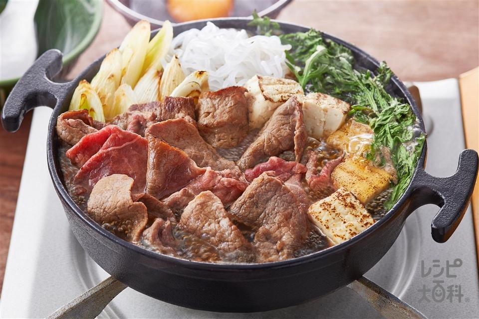 すき焼き(関東風)(牛もも薄切り肉+しらたきを使ったレシピ)