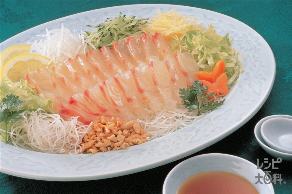 白身魚の中国風サラダ(白身魚の刺身+ねぎを使ったレシピ)