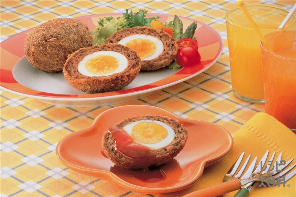 パーティスコッチエッグ(固ゆで卵+合いびき肉を使ったレシピ)