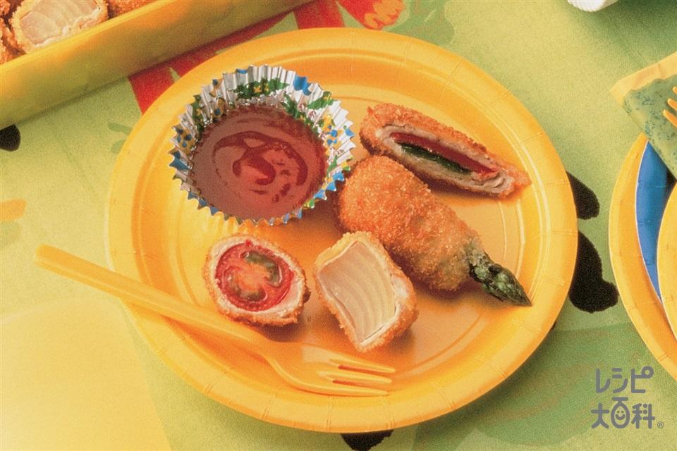 季節野菜の豚肉ロールフライ(豚ロース薄切り肉+グリーンアスパラガスを使ったレシピ)