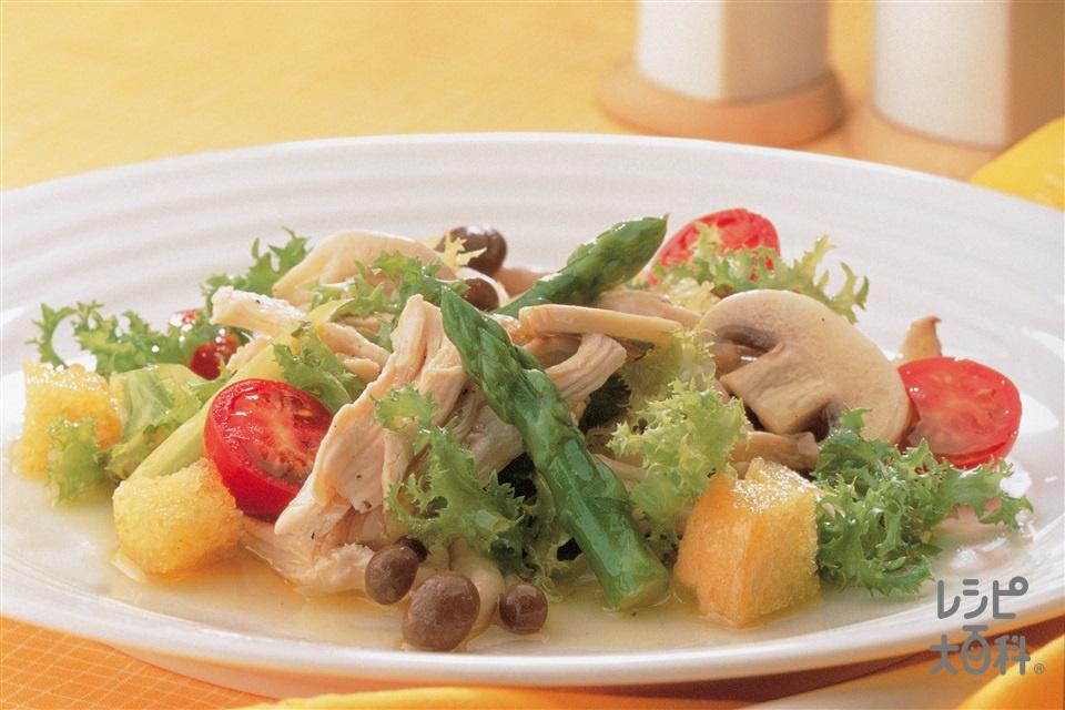 鶏肉ときのこ・アスパラのサラダ(鶏むね肉(皮なし)+ミニトマトを使ったレシピ)