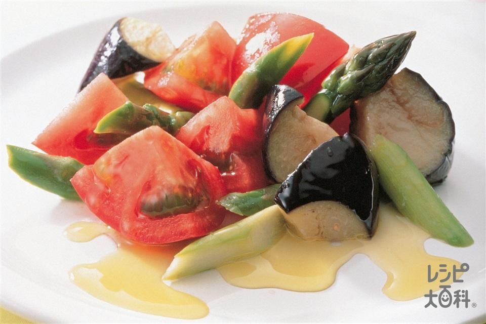 トマトとなすのオリーブオイルにんにくドレッシング(トマト+なすを使ったレシピ)
