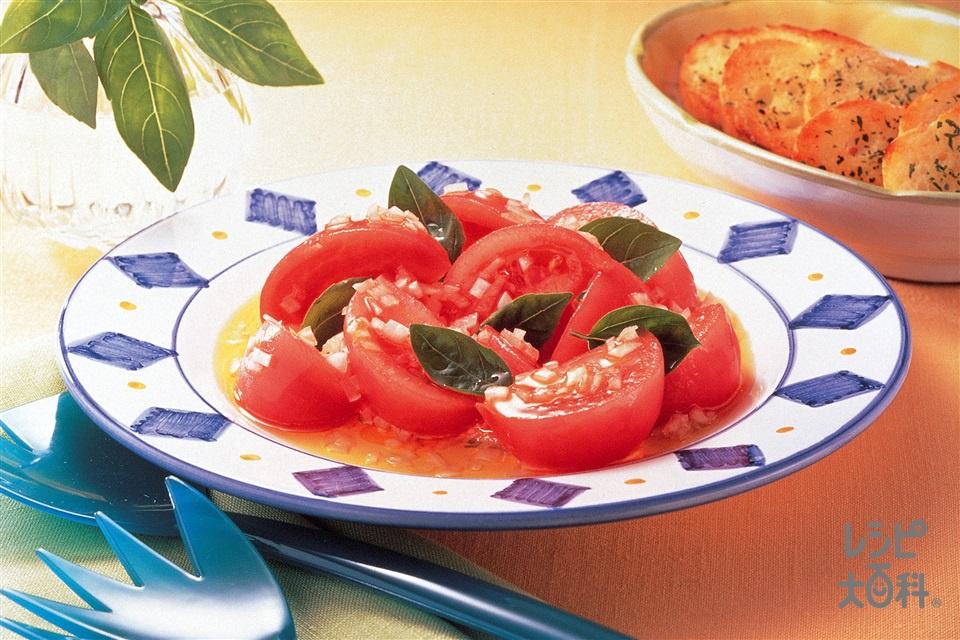 フレッシュトマトのオリーブオイルサラダ(トマト+玉ねぎを使ったレシピ)