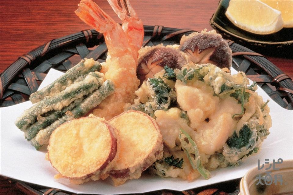 天ぷら&かき揚げ(さつまいも+玉ねぎ(大)を使ったレシピ)