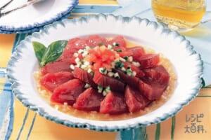 かつおのカルパッチョ(かつお+トマトを使ったレシピ)
