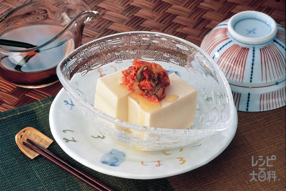 キムチ豆腐(絹ごし豆腐+白菜キムチを使ったレシピ)
