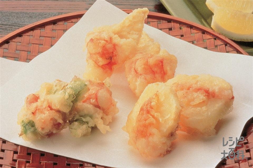 えびと野菜のひと口かき揚げ(新じゃがいも+ゆでたけのこを使ったレシピ)