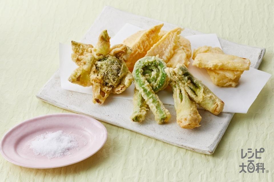 春の山菜の天ぷら(ゆでたけのこ+ふきのとうを使ったレシピ)