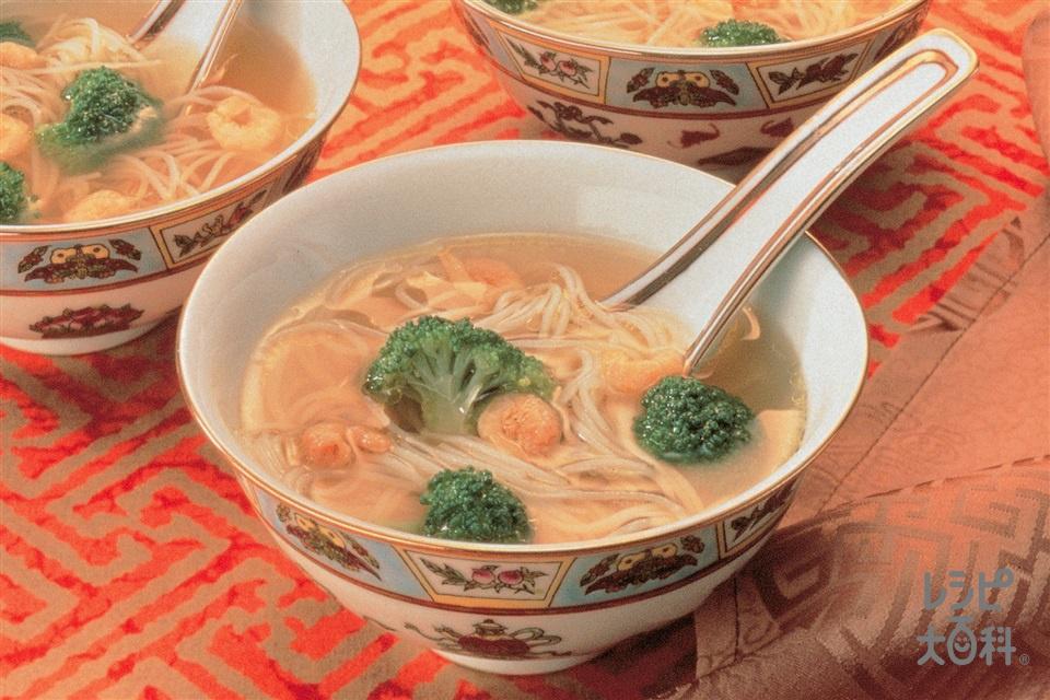 ブロッコリー入りスープビーフン(ブロッコリー+干しえびを使ったレシピ)