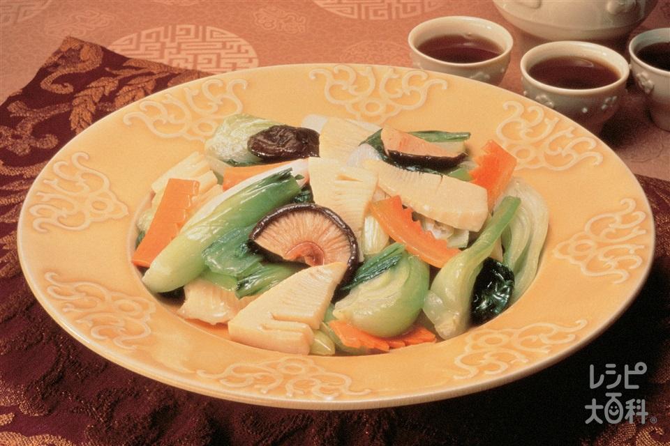 チンゲン菜とたけのこの炒めもの(チンゲン菜+ゆでたけのこを使ったレシピ)