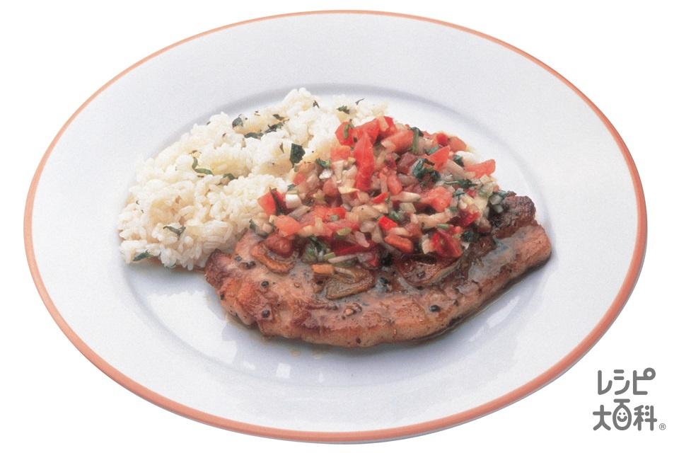 ポークソテーの野菜ソース添え(豚ロース肉ソテー用+冷やご飯を使ったレシピ)
