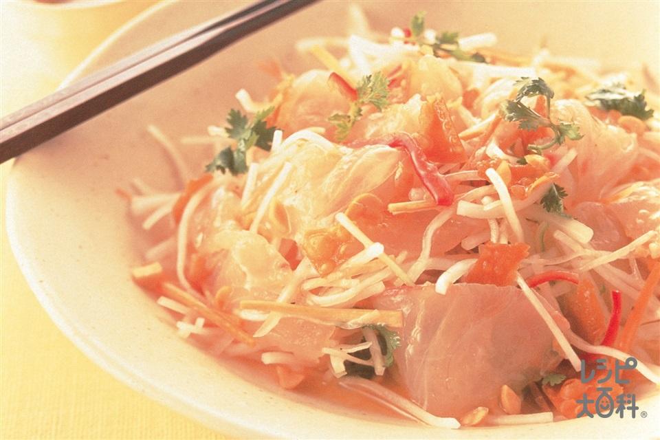 中国風海鮮サラダ(白身魚の刺身+大根を使ったレシピ)