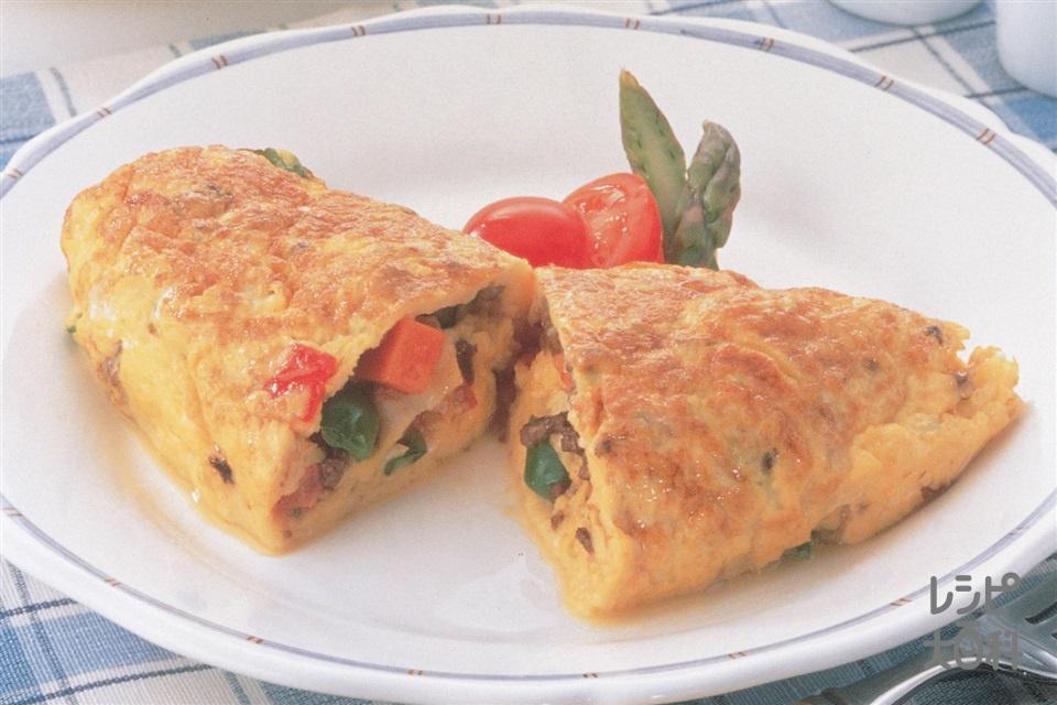 健康サララオムレツ(卵+トマトを使ったレシピ)