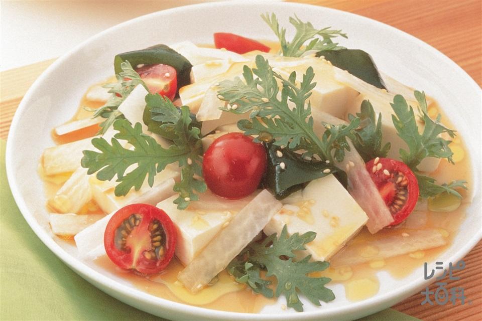 春菊・大根・わかめの豆腐サラダ(春菊+大根を使ったレシピ)