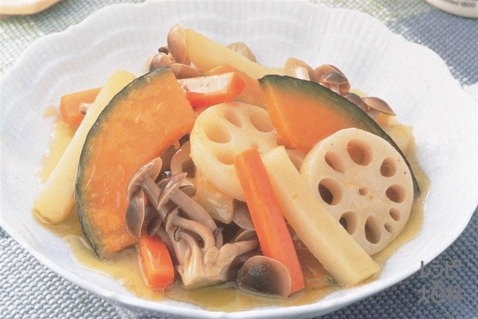 根菜とかぼちゃ、しめじの和風マリネ(じゃがいも+かぼちゃを使ったレシピ)