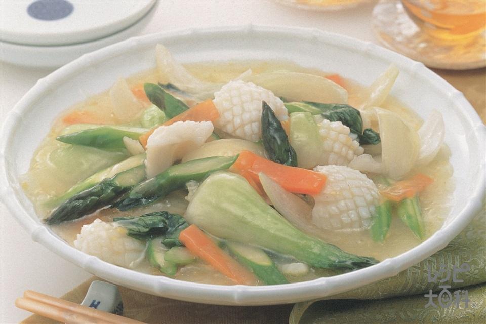 五目野菜炒め(いか(胴)+にんじんを使ったレシピ)