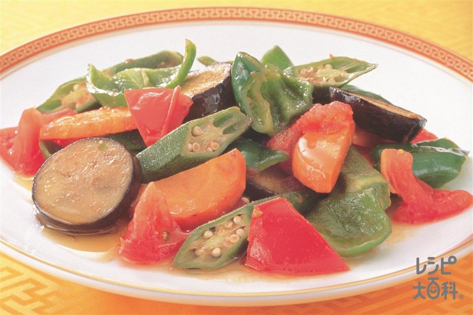 緑黄色たっぷりトマト炒め(トマト+なすを使ったレシピ)